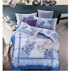 Евро комплект постельного белья премиум сатин двусторонний голубой
