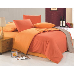 2 спальное двустороннее постельное белье однотонное оранжевое