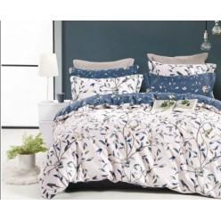 2 спальное постельное белье премиум сатин двустороннее белое с листьями