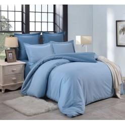 1.5 спальный однотонный комплект постельного белья голубой