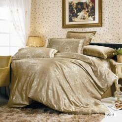 1.5 спальное постельное белье жаккард золотое с орнаментом