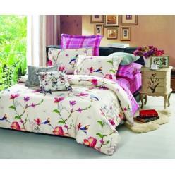 1.5 спальный комплект постельного белья сатин кремовый с красными цветами