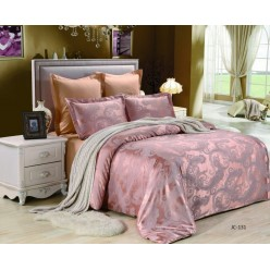 2 спальное постельное белье сатин жаккард розово-бежевое