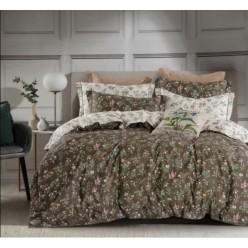 2 спальное постельное белье премиум сатин двустороннее болотное с полевыми цветами