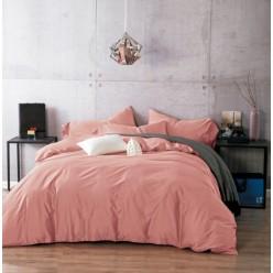 1.5 спальное постельное белье однотонное из сатина дымчато розовое