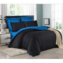 1.5 спальное постельное белье однотонное двустороннее сатин черное