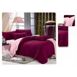 1.5 спальное постельное белье однотонное двустороннее бордовое