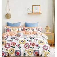 Подростковое сатиновое постельное белье двустороннее белое с цветами