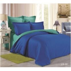 1.5 спальное постельное белье однотонное из сатина синее с бирюзовым