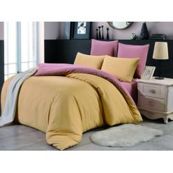 1.5 спальное постельное белье однотонное двустороннее горчичное