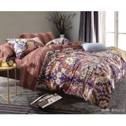 2 спальное шелковистое постельное белье двустороннее из премиум сатина коричневое с восточными узорами