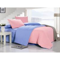 1.5 спальное двустороннее постельное белье однотонное розовое
