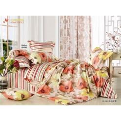 1.5 спальный комплект постельного белья оранжевый в полоску с маками