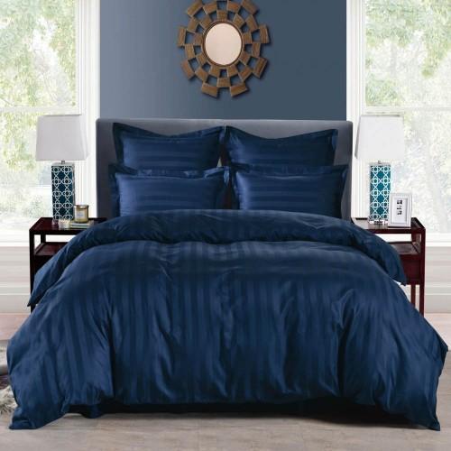 1.5 спальное постельное белье страйп сатин синее в полоску