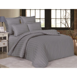 1.5 спальное сатиновое постельное белье однотонное серое