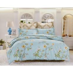 2 спальное постельное белье сатин голубое с цветами