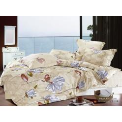 1.5 спальный комплект постельного белья бежевый с крупными цветами