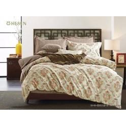 1.5 спальный комплект постельного белья салатовый с коричневым и узорами