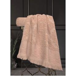 Комплект полотенец Барокко Жаккардовый хлопок (пудра) 70х140см(1),50х90см(1)
