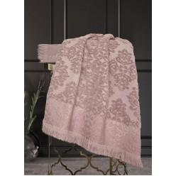 Комплект полотенец Барокко Жаккардовый хлопок (старо-розовый) 70х140см(1),50х90см(1)