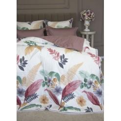 1,5- спальное постельное белье из сатина с одеялом Монтель (пудра антика)