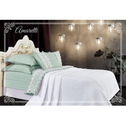 Евро постельное белье хлопок-бамбук Амаретти с покрывалом нефритово-белое
