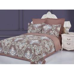 Евро постельное белье из сатина Анвер с одеялом шоколад