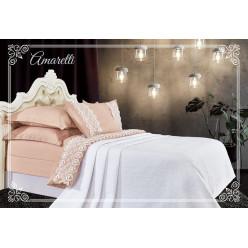 Евро постельное белье хлопок-бамбук Амаретти с покрывалом песочно-белое