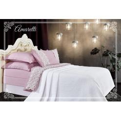 Евро постельное белье хлопок-бамбук Амаретти с покрывалом лавандово-белое