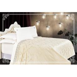 Евро постельное белье сатин-бамбук с покрывалом Флоэрино молоко