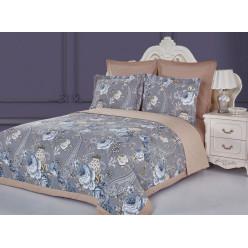 Евро постельное белье из сатина Аструм с одеялом капучино