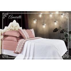 Евро постельное белье хлопок-бамбук Амаретти с покрывалом пудрово-белое