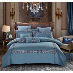 Евро постельное белье элит-сатин Because голубое