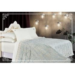 Евро постельное белье сатин-бамбук с покрывалом Флоэрино лазурное