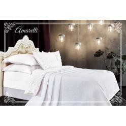 Евро постельное белье хлопок-бамбук Амаретти с покрывалом молочно-белое