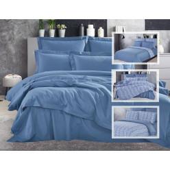 Евро двухстороннее постельное белье премиум сатин Belkanto голубое