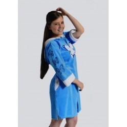 14140 женский короткий халат (бирюзовый) (S)