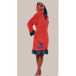 13055 женский халат (корал с серым) (M)