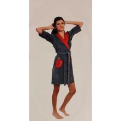 13005 женский кортоткий халат (коралловый) (XXL)