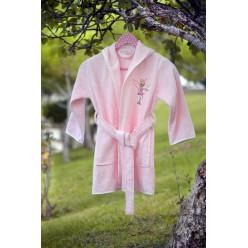 Халат бамбук детский с вышивкой KIDS Розовый