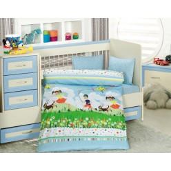 Детское постельное белье для новорожденных TINI MINI голубое
