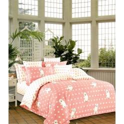 Турецкое постельное белье детское двустороннее сатин DELUX CORIN розовое в горошек