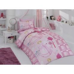 Детское постельное белье AYSEGUL для девочки креафорс розовое с принцессой