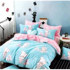 Турецкое постельное белье детское двустороннее сатин DELUX MARE голубое с плюшевыми игрушками