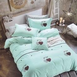 Турецкое постельное белье детское двустороннее сатин DELUX LOVE ME нежно голубое с сердечками