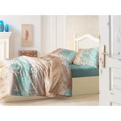 Постельное белье 1,5 спальное TUANA бирюзовое с бежевым