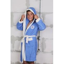 Халат детский махровый с капюшоном SILVER Голубой