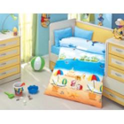 Детское постельное белье для новорожденных DENIZ голубое с пляжем
