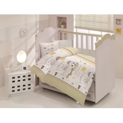 Детское постельное белье для новорожденных TEDDY кремовое с мишками