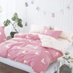Турецкое постельное белье детское двустороннее сатин DELUX ALIEN розовое с птичками